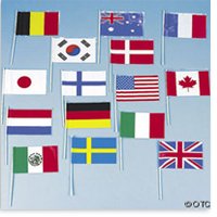One Dozen Individual Flags of All Nations