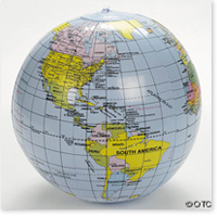 14 Inch Inflatable World Globe